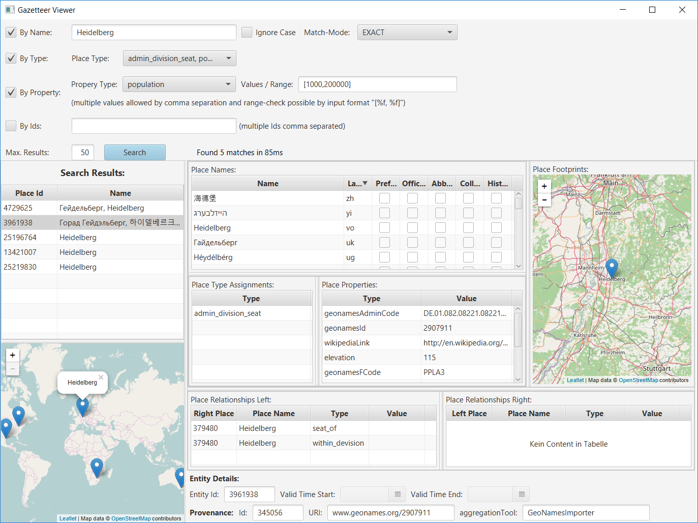 Demo Screenshot of the Gazetteer Viewer