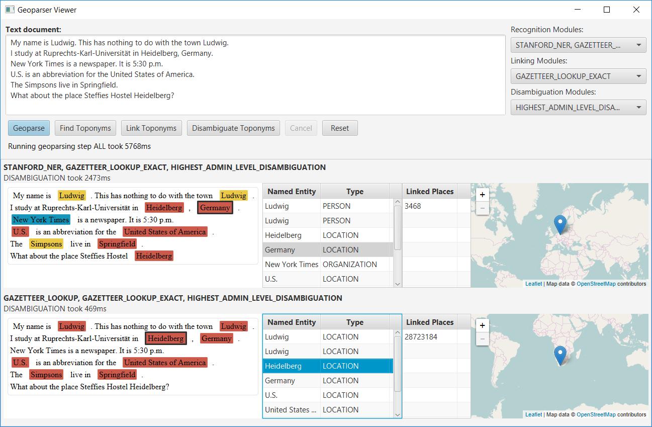 Demo Screenshot of the Geoparser Viewer